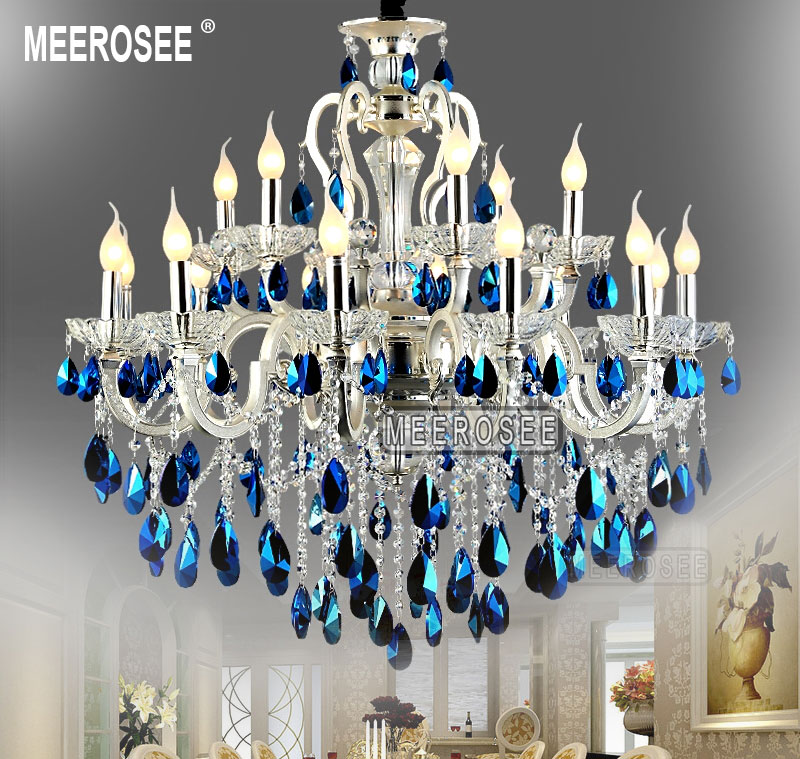meerosee Modern Large 18 Arms Silver Crystal Chandelier Light Blue ...