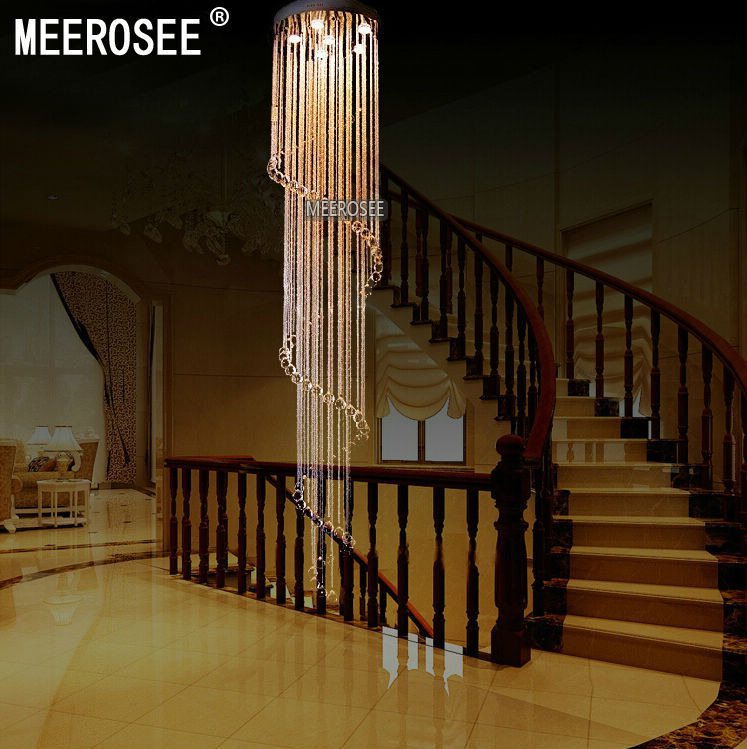 Long stair light product long stair light price spiral crystal light fixture long crystal chandelier light lustre de cristal for staircase stairs foyer crystal stair lamp md2215 aloadofball Image collections